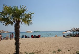 Beach at Nea Plagia, Greece on our Road Trip around Europe