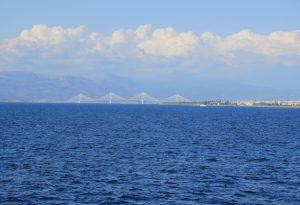 View of Rio Antirrio Bridge from the Patras - Bari Ferry during our European Road Trip