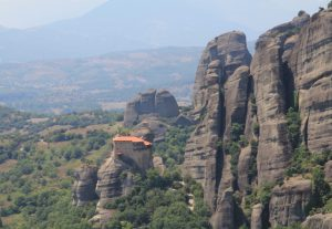 Distant View of The Holy Monastery of St. Nicholas Anapafsas, Meteora, near Kalabaka on our Motorhome Road Trip!