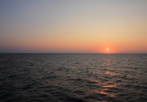 Sunrise on board the ferry from Patras to Bari during our Self Build Motorhome Road Trip