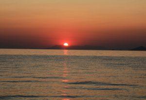 Sunrise over Mount Athos and Aegean Sea. European Road Trip in a self build camper van