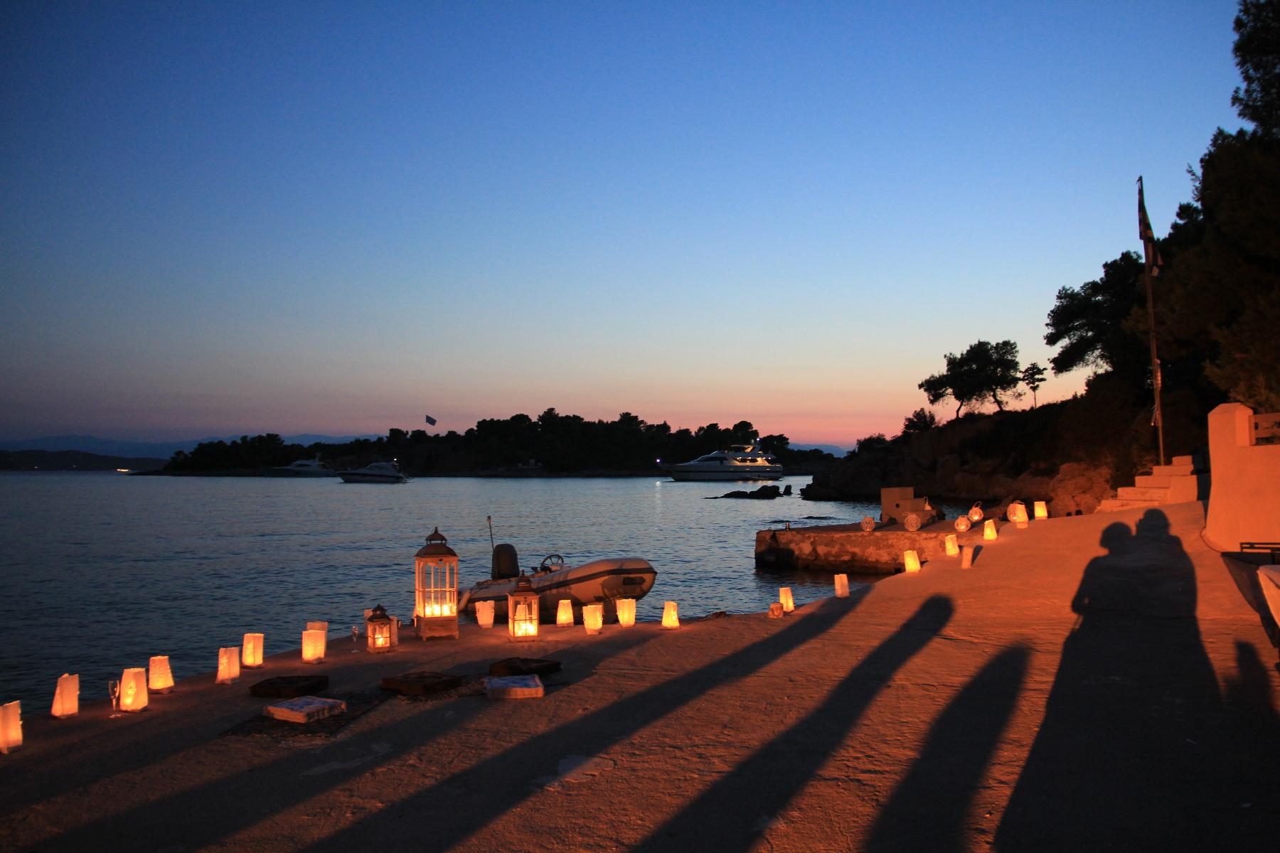 Wedding venue at a Greek Taverna at sunset