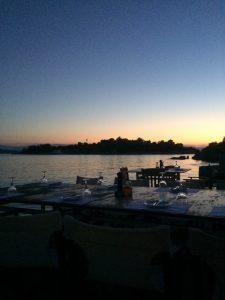 Sunset in Porto Heli Restaurant. Greece Motorhome Road Trip