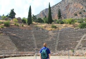 Enjoying the Theatre at Delphi, Greece
