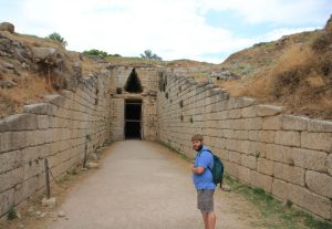 Entering a tomb at Mycenae. Motorhome Road Trip around Greece