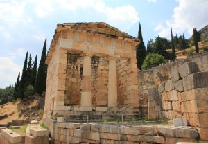 Ruins in Delphi Archaeological site on our Greek Motorhome Road Trip