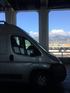 motorhome on the patras - bari ferry during our road trip around europe