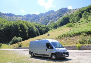 Van parked in mountains, Romania