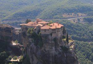 Varlaam Monastery viewed from The Great Meteoron Monastery at Meteora near Kalabaka, Greece. Road Trip in a self build campervan