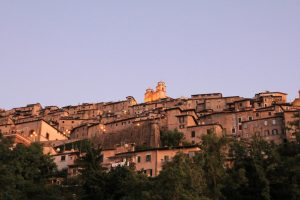 View up towards Artena, Lazio, Italy