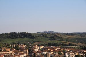 San Gimignano viewed from Certaldo, Tuscany. Italy. An ideal location for dinner and an over night stop on a road trip.