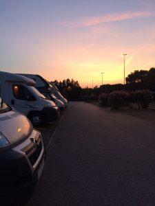 Motorhomes parked at Simione, Lake Garda.