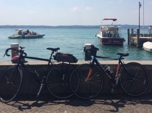 Bikes parked up in Sirmione during our European Road Trip.