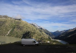 View of the motohome on the Gimsel Pass whilst on our European Road Trip.