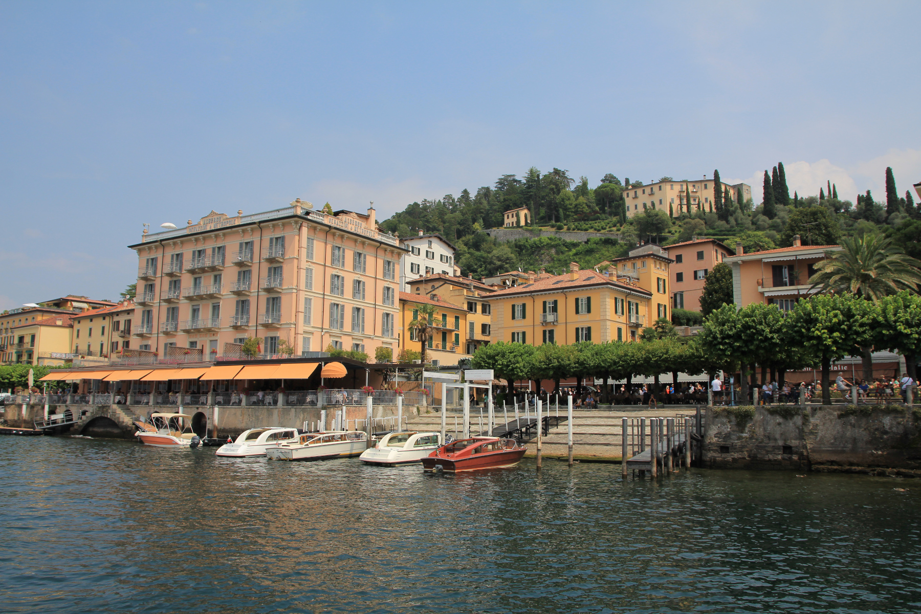View over Bellagio, from Lake Como Ferry, Italy