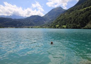 Swimming in Lake Sarnen, Switzerland.
