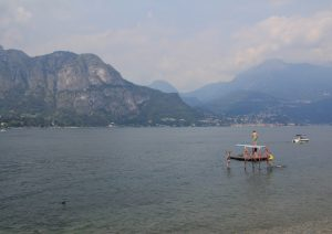 View over lake Como,, including swimmers.
